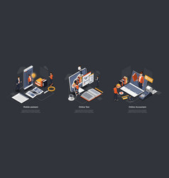 isometric 3d online test accountant and mobile vector image