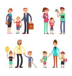 Kids and parents in happy family mom dad vector