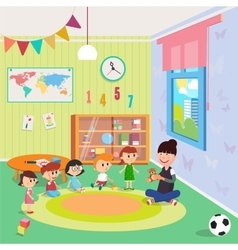 Kindergarden Interior Girls and Boys vector