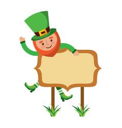 leprechaun on wooden board happy character vector image