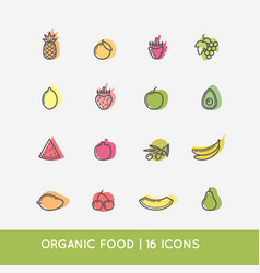 Linear icons fruits vector