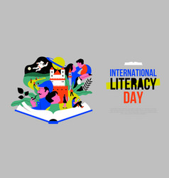 Literacy day web template open book story people vector