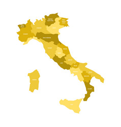 map of italy divided into 20 administrative vector image