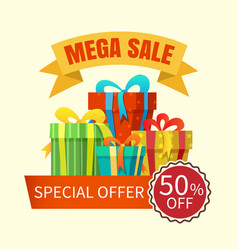 Mega sale banner with gift boxes vector