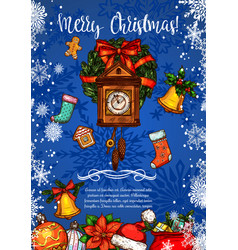 Merry christmas clock sketch greeting card vector