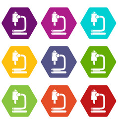 microscope icons set 9 vector image