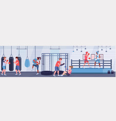 Mix race boxers practicing boxing exercises vector