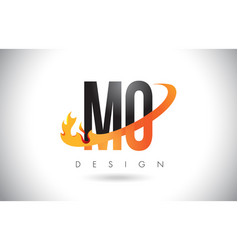 Mo m o letter logo with fire flames design and vector