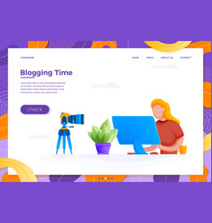 online blogging concept girl with camera vector image