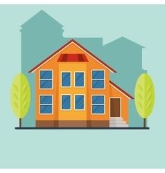 orange house in city vector image