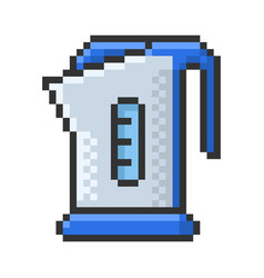 outlined pixel icon electric kettle fully vector image