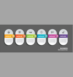 oval infographics timeline paper with 6 data vector image