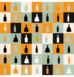 pattern silhouette alcohol bottle vector image