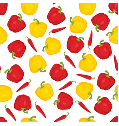 pattern with bulgarian pepper and chilli vector image