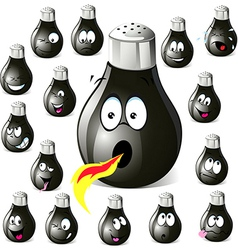 Pepper shaker cartoon with many expressions vector