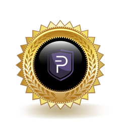 Pivx cryptocurrency coin gold badge vector