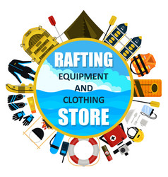 Rafting equipment and clothing store emblem vector