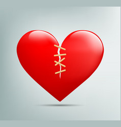 red heart with a crack vector image