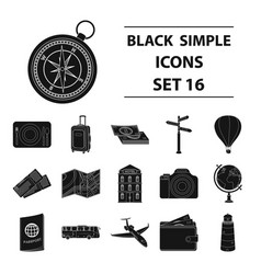 Rest and travel set icons in black style big vector
