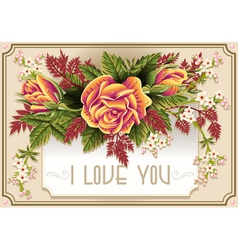 Roses Ornament on Vintage Frame vector