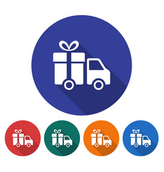 Round icon of delivery car flat style with long vector