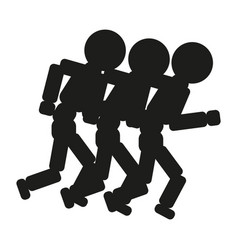 Running people sign black vector