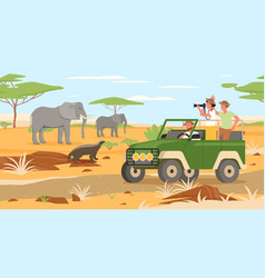 Safari travel adventure in africa savanna wildlife vector
