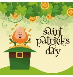saint patricks day leprechaun sitting hat full vector image