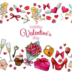Seamless horizontal borders with sketch valentines vector
