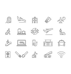set assorted line airport and travel icons vector image