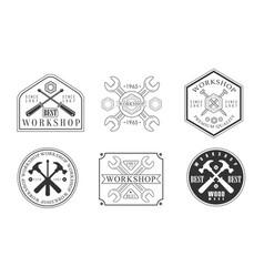 set logos for workshop vector image