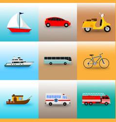 set of public transportation vector image