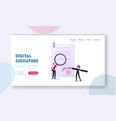 signature authenticity service landing page vector image
