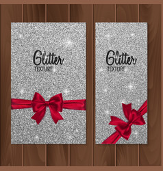 Silver glitter background with realistic red bow vector