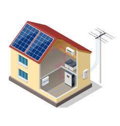 Solar panels on romodern house vector