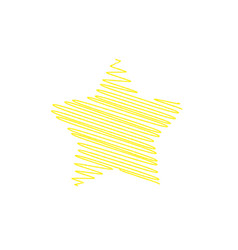 star yellow colour painted by hand on white vector image