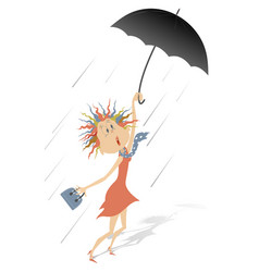 Strong wind rain and woman with umbrella vector