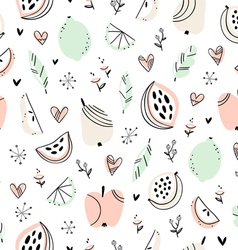 Stylized fruits pattern vector
