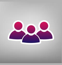 team work sign purple gradient icon on vector image