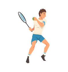 tennis player with racket male athlete character vector image