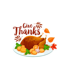 thanksgiving turkey icon for holiday dinner design vector image