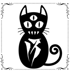 three eyed black cat with floral frame ornament vector image