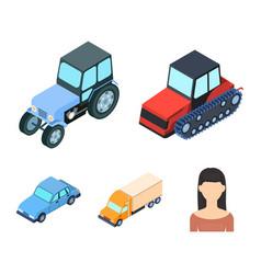 tractor caterpillar tractor truck car vector image