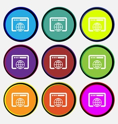 Window icon sign Nine multi colored round buttons vector