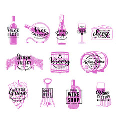 wine and winery winemaking company lettering vector image