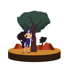 woman making yoga near tree vector image