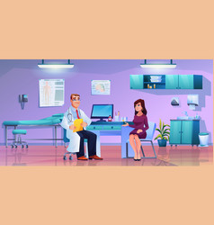 woman on consultation general practitioner room vector image