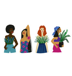 women different ethnicity with flowers vector image