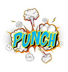 word punch on comic cloud explosion background vector image