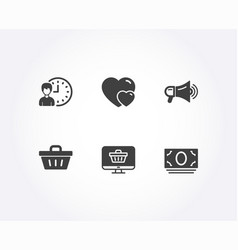 Working hours shopping basket and hearts icons vector
